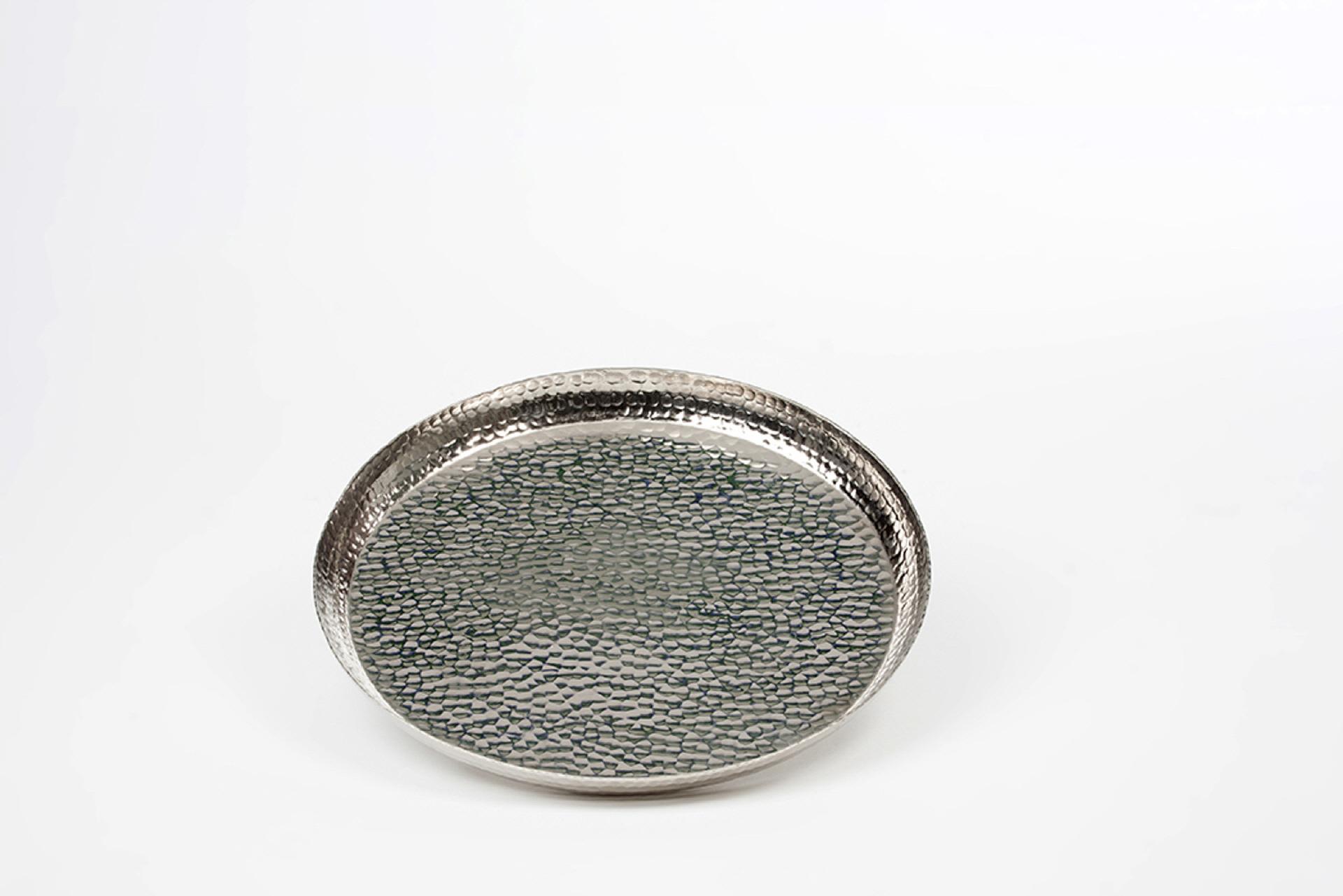 tablett rund 36 0 cm hammerschlag struktur stylisch lifestyle aus silber. Black Bedroom Furniture Sets. Home Design Ideas